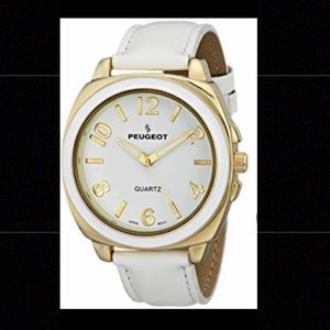 Women's Peugeot White & Gold Watch
